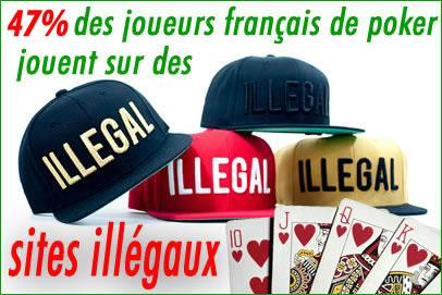 47% des joueurs de poker en France jouent sur des sites illégaux.