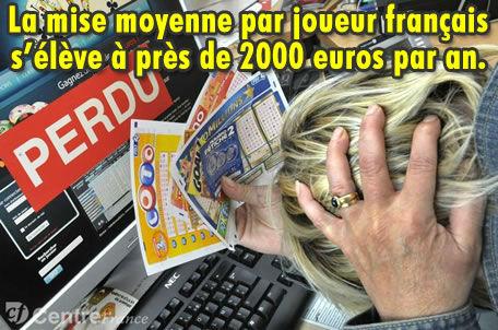 Les joueurs français dépensent 2000 € par an dans les jeux d'argent.