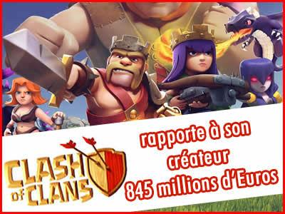 Clash of Clans rapporte 845 millions d'Euros à son créateur !