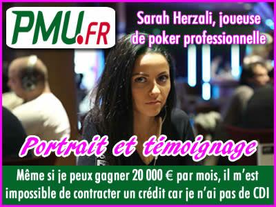 Sarah Herzali, joueuse de poker sponsorisée par PMU.