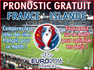 Pronostic France Islande Euro 2016 - Foot