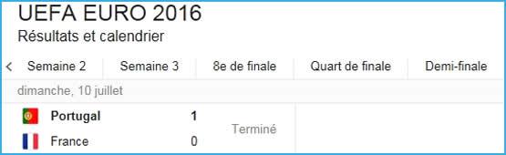Résultat match foot Euro 2016 finale.