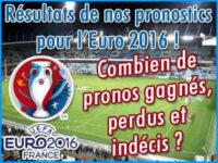 Résultats de nos pronostics foot Euro 2016