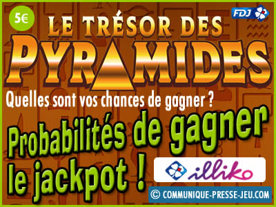 Jeu grattage Le Trésor des Pyramides, les probabilités de gagner le jackpot.