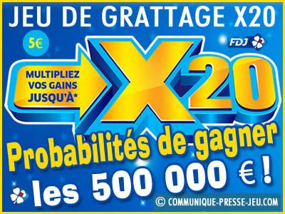 Jeu de grattage X20 de la FDJ, les probabilités de gagner.