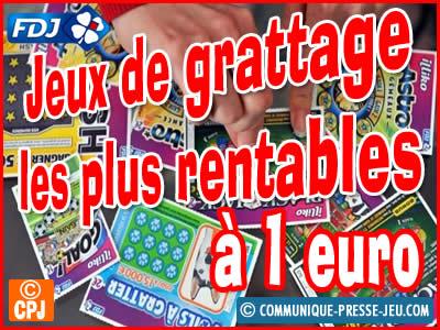 Jeux de grattage les plus rentables à 1 €, vos chances de gagner.
