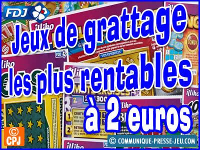 Jeux de grattage les plus rentables à 2 euros.