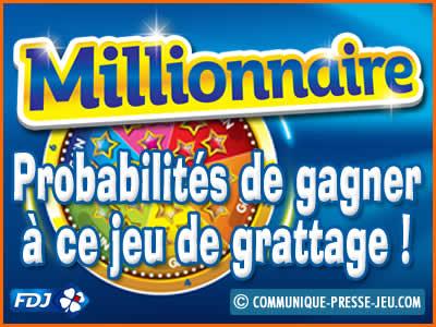 Probabilités au jeu de grattage Millionnaire.