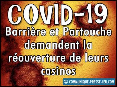 Covid-19, Partouche et Barrière pour la réouverture de leurs casinos.