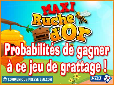 Jeu de grattage Maxi Ruche d'Or de la FDJ, les probabilités de gagner.