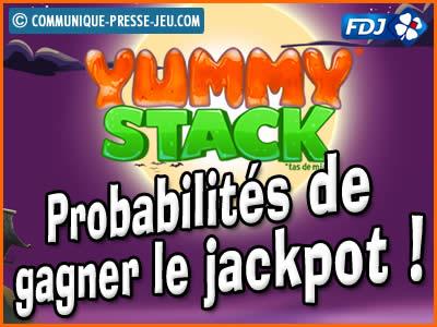 Jeu de grattage Yummy Stack de la FDJ, les probabilités de gagner.