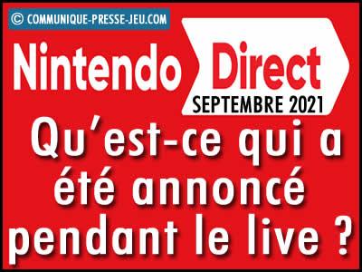 Nintendo Direct septembre 2021 : qu'est-ce qui a été annoncé lors du live ?